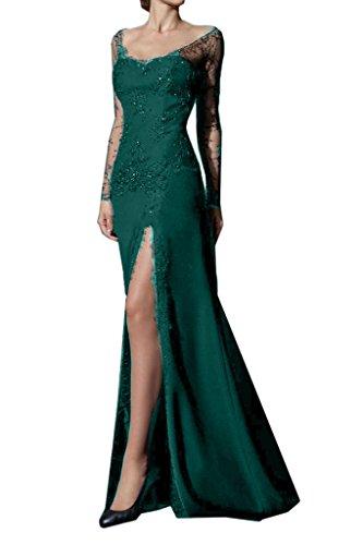 Blau Satin Partykleid Lang Spitze Promkleid Gruen Schlitz Meerjungfrau Missdressy Ballkleid Abendkleid zdSa41d