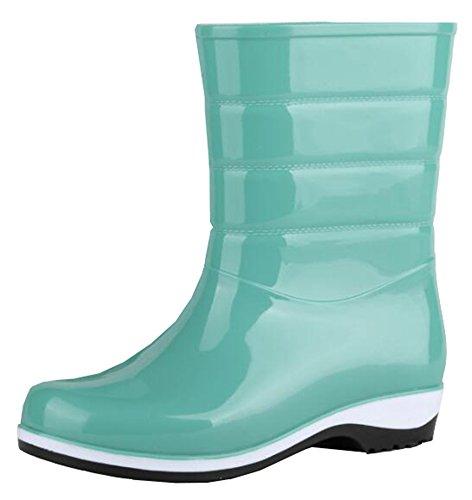 Idifu Damesmode Korte Regenlaarzen Rubberen Laarzen Met Hakken Groen