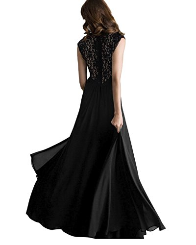 ZANZEA Mujeres Vestido de Noche Costura Encaje Espalda Cuello V Maxi Largo Formales Negro