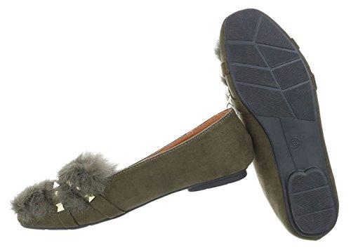 Damen Ballerinas | Slippers Velours | Kunst Fell Schuhe | Ballerina Schuhe Slipper |Puschel Slipper Slip-Ons | Elegante Flats Partyschuhe | Schuhcity24 Olive