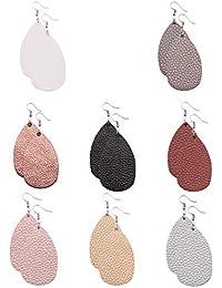 Leather Earrings Lightweight Faux Leather Leaf Earrings Teardrop Dangle Handmade for Women Girls 8 Pairs…