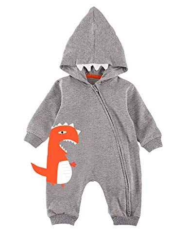Infant Baby Dinosaur Graphics Print Cute Bodysuit Your Little One Funny Active Gray Fall Clothes 12-18 Months 90 -