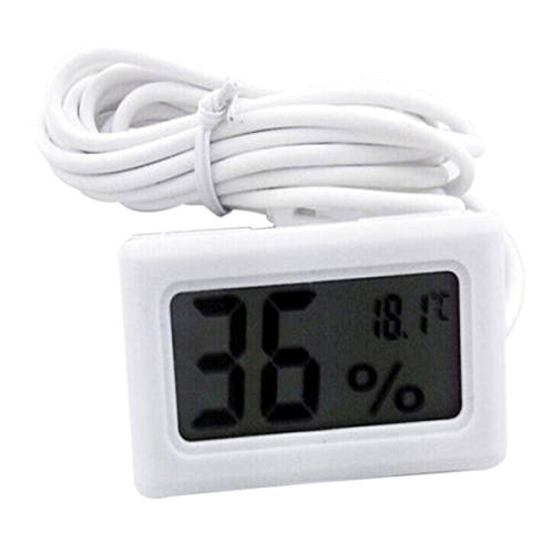 Auntwhale LCD Digital Thermometer 1pcs Hygrometer Probe for Reptile Mini Embedded Thermometer Hygrometer black