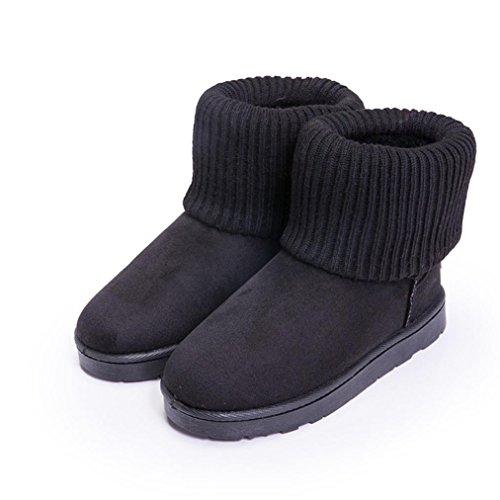 Amiley Fashion Dames Enkellaarsjes 2 Stijlen Breiwol Winter Warm Snowbootie Zwart