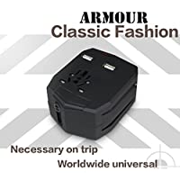 Tarkan Armour Heavy Duty Tough Universal Travel Adapter Plug with Car Charger, Dual USB Port for Mobile/Tablet (Black)