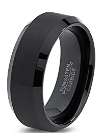 Tungsten Wedding Band Ring 8mm for Men Women Comfort Fit Black Enamel Beveled Edge Polished Brushed