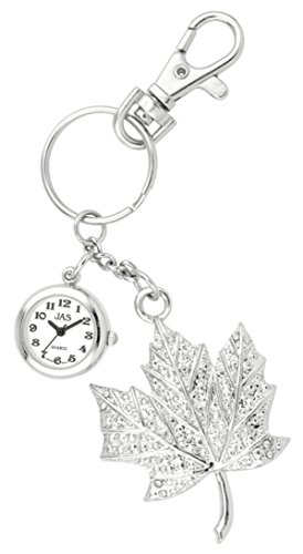JAS Unisex Novelty Belt Fob/Keychain Watch Maple Leaf Silver Tone