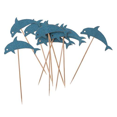Dovewill 10pcs Glitter Blue Dolphin Sea Animal Design Cupcake Toppers Picks Wedding Kids Children Birthday Party (Dolphin Cake Topper)