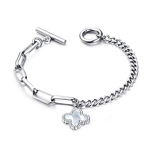 Fashion Ahead Four Leaf Clovers Charm Toggle Bracelet for Women Silver Rose Gold Stainless Steel Link Chain, 7.3 inches (Silver-Four Leaf Clover)