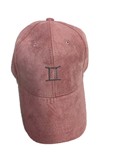 Gemini zodiac sign embroidered peach suede baseball cap with cobalt embroidery