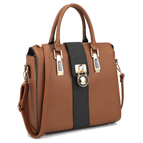 Top Handle Handbag Zip Purse Fashion Shoulder Bag Cross body Satchel Work Bag Medium w/ Padlock Charm Brown