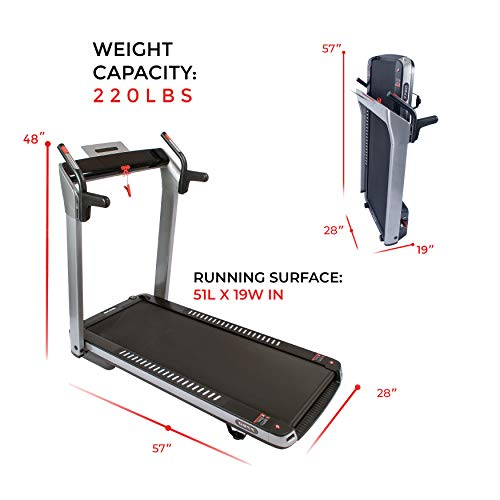 ASUNA Electric Foldable Treadmill with Pulse and LED Monitors, Tablet Holder, Input Speakers, 220 lb Max Weight - Spaceflex 7750