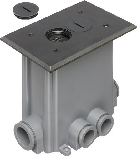 Arlington FLBC101BL-1 Floor Electrical Box Kit with Outlet and Threaded Plugs for New Concrete, 1-Gang, Black, by Arlington Industries
