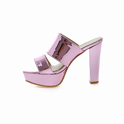 Carolbar Women's Fashion Chic Platform Block High Heel Dress Sandals Pink gFPYx