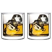 Juego de vasos Double Wall Rocks de Sun's Tea (Tm) | 5,5 oz | La moda antigua copas y copas de cóctel | Vaso con aislamiento transparente - Juego de 2
