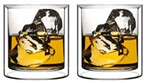 Double Wall Rocks Glass Set by Sun's Tea (Tm) | 5.5oz | Old Fashioned Drinking & Cocktail Glasses | Clear Insulated Tumbler - Set of 2