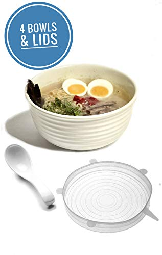 Vallenwood 4 set (12 piece) Ramen Bowl Set, Pho Bowls Asian Japanese with Spoons and Universal Silicone Stretch Lids, Restaurant Quality Melamine, XL Size Also for Salad, Pasta, Udon