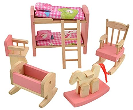 Glamorway Baby Kids Play Pretend Toy Design Wooden Doll Furniture Dollhouse Miniature Toy Children Gifts for Bunk Bed