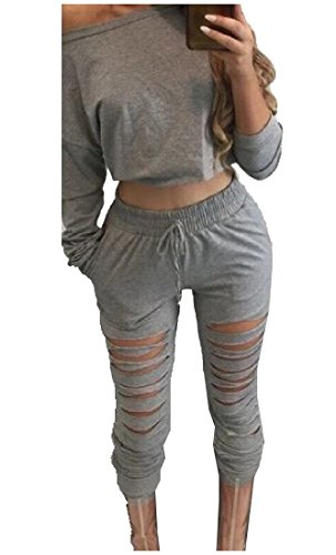 AngelSpace Womens Outdoor Autumn Long Sleeve Pullover Elastic Waist Pants Gray