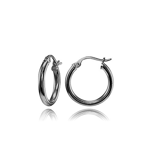 Black Flashed Sterling Silver 2mm High Polished Round Hoop Earrings, 15mm (Round Earrings Loop)