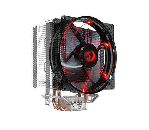 Redragon CC-1011 Reaver CPU Cooler, Slim Design, 2.0 Heatpipes, Red LED 120mm Fan x 1, Aluminium Fins for AMD Ryzen/Intel LGA1200/1151, Universal Socket Solution, 100% RAM Compatibility