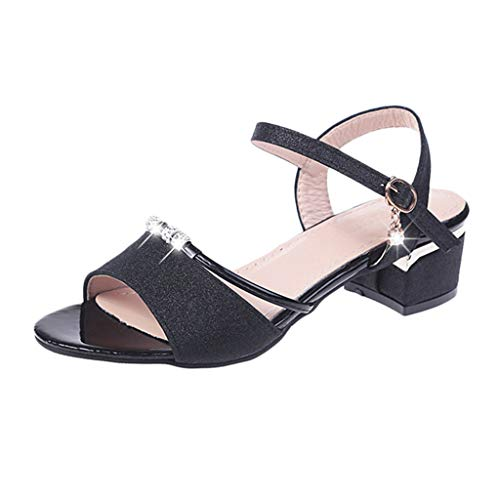 - Sharemen  Square Heel Sandals for Women Peep Toe Mid-Heeled Thick with Rhinestone Metal Buckle Strap Dress Sandals(Black,US: 7)