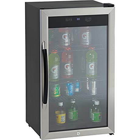 Avanti Showcase Beverage Cooler With Stainless Steel Door Frame And Dual Pane Glass Door