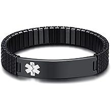 Free Engraving-Unisex Stainless Steel Medical Alert ID Stretch Allergy Bracelet for Men and Women