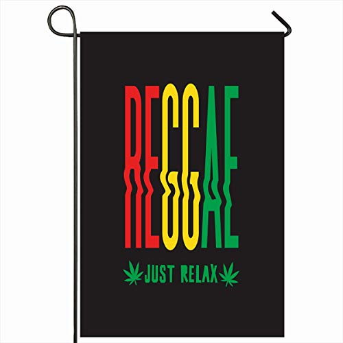 Ahawoso Outdoor Garden Flag 12x18 Inches Freedom Emblem Africa On Reggae Music Abstract Rasta Green African Alternative Badge Black Relax Home Decor Seasonal Double Sides House Yard Sign Banner