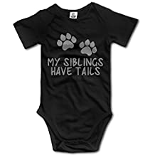 Honey Bear ICloth Unisex Baby My Siblings Have Tails Printed Short-Sleeve Bodysuits
