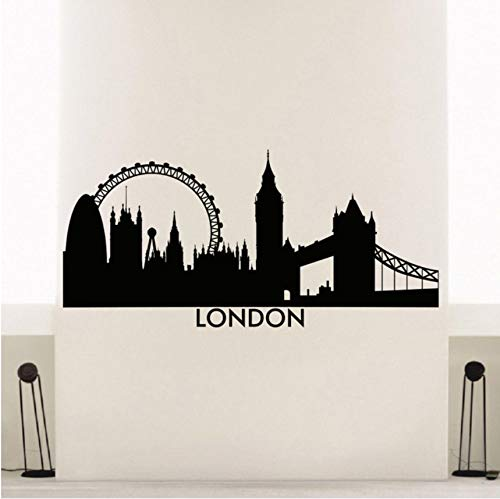 hwhz 88 X 42 cm London Skyline Wall Sticker Vinyl City Wall Decal London Skyline City Silhouette Wall Art Mural Home Decoration Poster