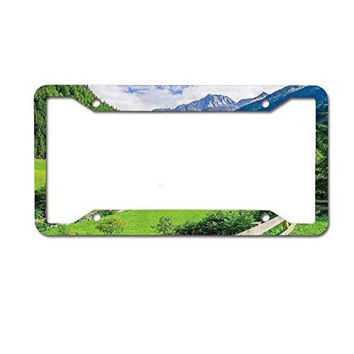 (ABLnewitemFrameFF Farmhouse Alpine Landscape Meadow Cottages Pines Stream in Village View Green White License Plate Personalized Women Men Auto Tag Sign is Made of Aluminum 4 Holes.)
