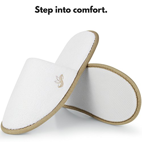 Hotel 6 Slippers Coral Medium for Cocoa Indoor Closed Padded Extra Pairs 6 Slippers Pairs and Spa Trim Women KELLY Sole Toe Premium Disposable Fluffy BERGMAN for White Comfort Size Men Fleece 8EPx61Oq