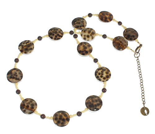 - Style-ARThouse So Sleek Necklace Brown and Black Genuine Spotted Tiger Cowrie Shell Necklace, 23 Inches