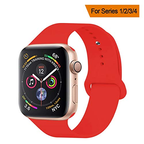 Wrist Band Watch Tech - YANCH Compatible with for Apple Watch Band 38mm 40mm, Soft Silicone Sport Band Replacement Wrist Strap Compatible with for iWatch Series 4/3/2/1, Nike+,Sport,Edition,S/M,Size,Red