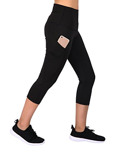 Fold Over Crop Pant - HDE Womens Capri Yoga Pants Fitted Stretch Leggings for Workouts Running (Black, Large)