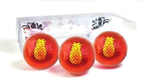 Hawaiian Golf Ball - Golf Balls Red Metallic with Pineapple Imprint