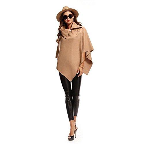 Poncho di Marca Monocromo Invernali Outwear Mode Asimmetrico Khaki Stola Eleganti Bavero BOLAWOO Donna Mantella Camicetta nxP1F