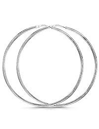 Amberta® 925 Sterling Silver Fine Circle Hinged Hoops - Round Creole Sleeper Earrings Diameter Size: 7 10 15 20 25 35 45 55 mm