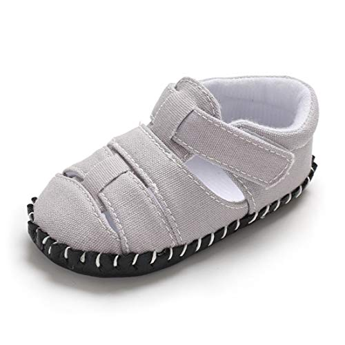 bf0a36a2f87fe Sakuracan Infant Baby Boys Sandals Soft Sole Anti-Slip Summer Toddler First  Walker Shoes for Girls (12-18 Months M US Toddler, I-Grey)