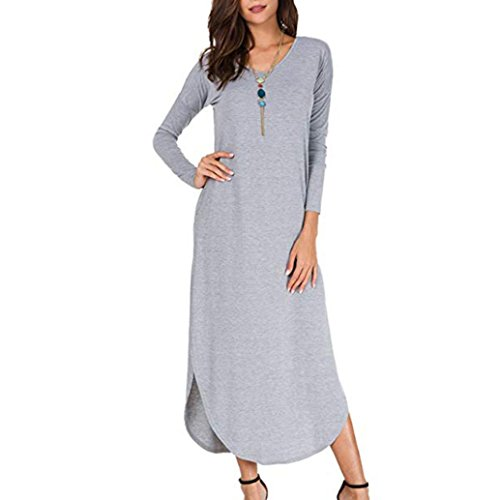 Women Long Dress, Loose Long Sleeve Swing Floor-Length Evening Party Beach Split Maxi Dress (Gray -1, XL) by Kinrui
