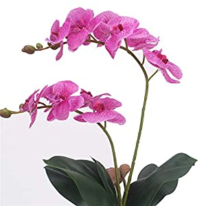 2 Branches Real Touch Butterfly Orchid Artificial Flower DIY Wedding Home Garden Decor Fake Flower PU Plant Pot Flowers Orchid Light Purple 40