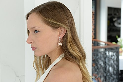 Mariell Blush 14K Rose Gold Plated Shell Pearl Drop Bridal Wedding Dangle Earrings with Cubic Zirconia by Mariell (Image #4)