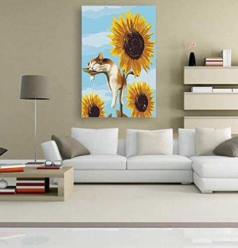 Home Decor 5D Artist Painting Kit DIY Cross Stitch Kit Living Room Wall Decor Sunflower Catnap Diamond Embroidery Kit for Art /& Craft Great Designs Size: 16x16 in