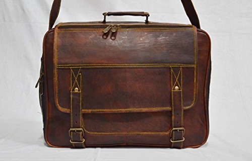 thehandicraftworld Real leather handmade messenger brown vintage satchel cross body shoulder bag by thehandicraftworld