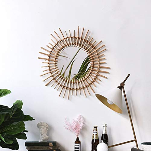 GJH-mirror Rattan Dressing Makeup Mirror, Art Deco Wall Hanging Round Mirror for The Living Room Entrance Hall (Color : Beige, Size : 54cm)