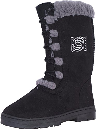 bebe Girls Faux Fur Lace Up Winter Boots, Black, Size 12'