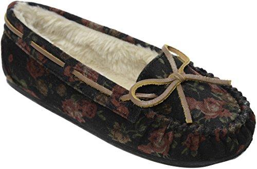 Minnetonka Shoe Women Velvet Cally Slip On Lined 9 M Black Floral 4410