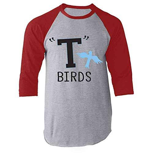 T Birds Gang Logo Costume Retro 50s 60s Costume Red S Raglan Baseball Tee Shirt]()