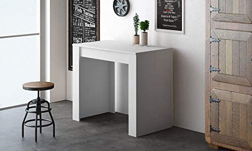 COMFORT Home Innovation- Extendable console, dining modern table up to 237 cm, gloss white color. Multifunction. Rectangular with extensions. Dimensions closed: 90x50x78 cm